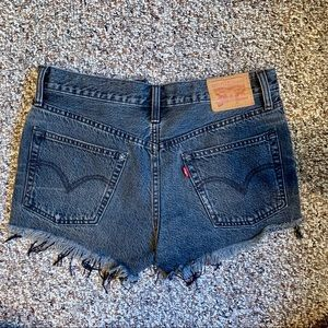 LEVI's high wasted distressed black shorts